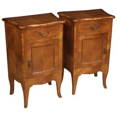 Pair of 20th Century Walnut Maple Rosewood Louis XV Style Italian Nightstands