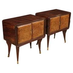 Pair of 20th Century Walnut Palisander Beechwood Italian Design Nightstands