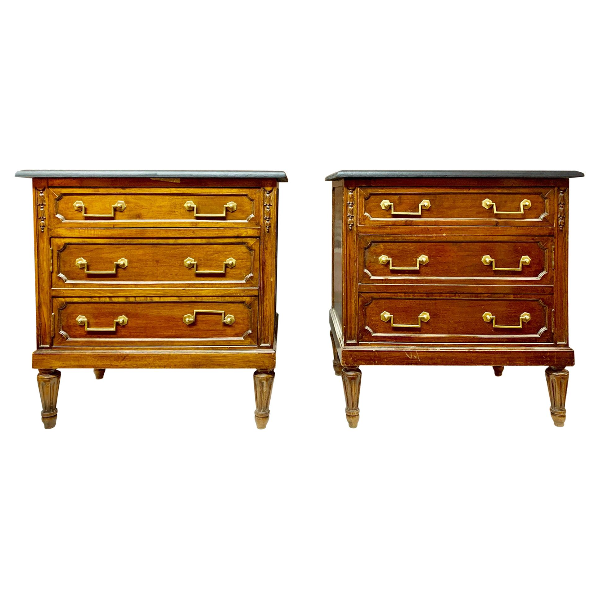 Pair of 20th Century Walnut Spanish Louis XVI Style Bedside Tables or Commodes