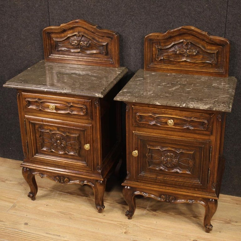Pair of 20th Century Walnut Wood and Marble-Top Italian Nightstands, 1950 In Good Condition In Vicoforte, Piedmont