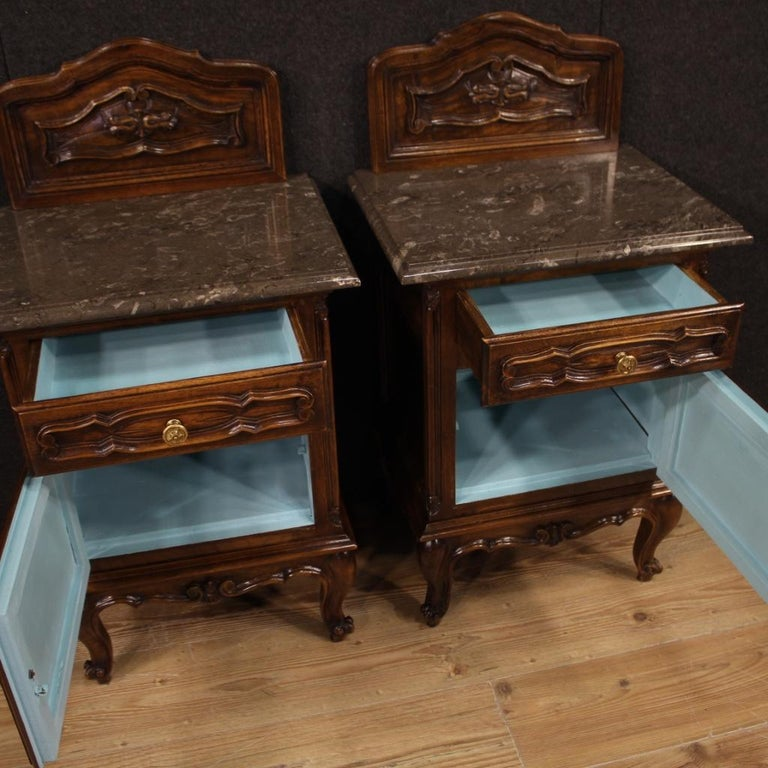 Pair of 20th Century Walnut Wood and Marble-Top Italian Nightstands, 1950 1