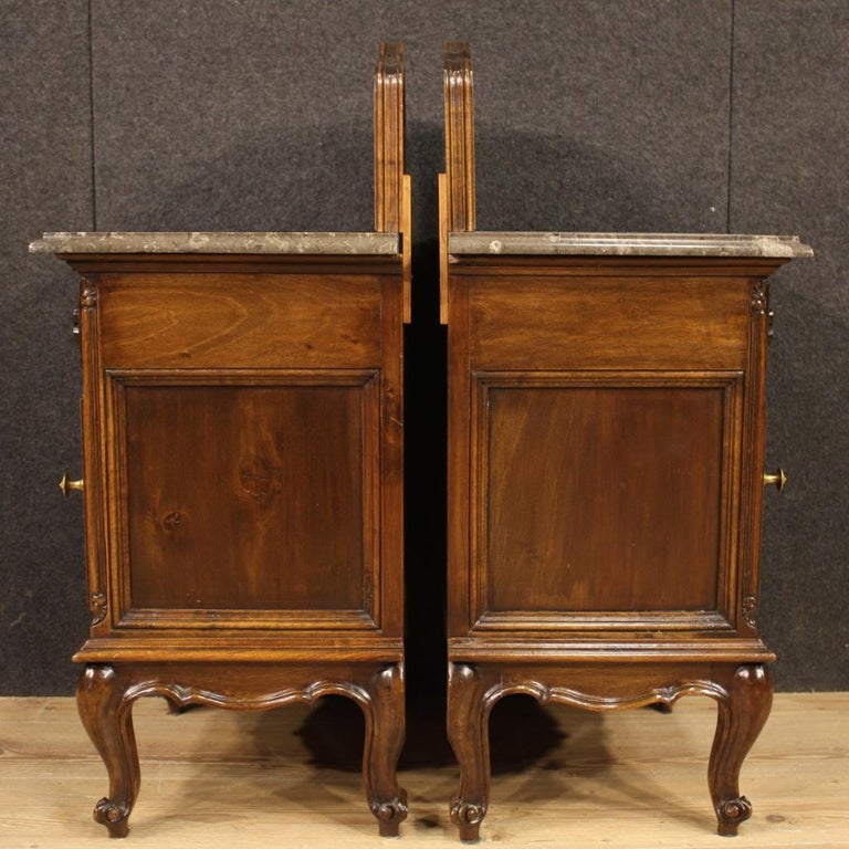 Pair of 20th Century Walnut Wood and Marble-Top Italian Nightstands, 1950 4