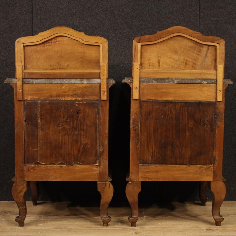 Pair of 20th Century Walnut Wood and Marble-Top Italian Nightstands, 1950 5