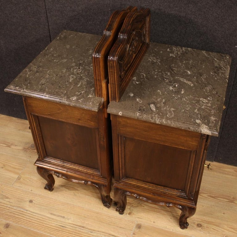 Pair of 20th Century Walnut Wood and Marble-Top Italian Nightstands, 1950 6