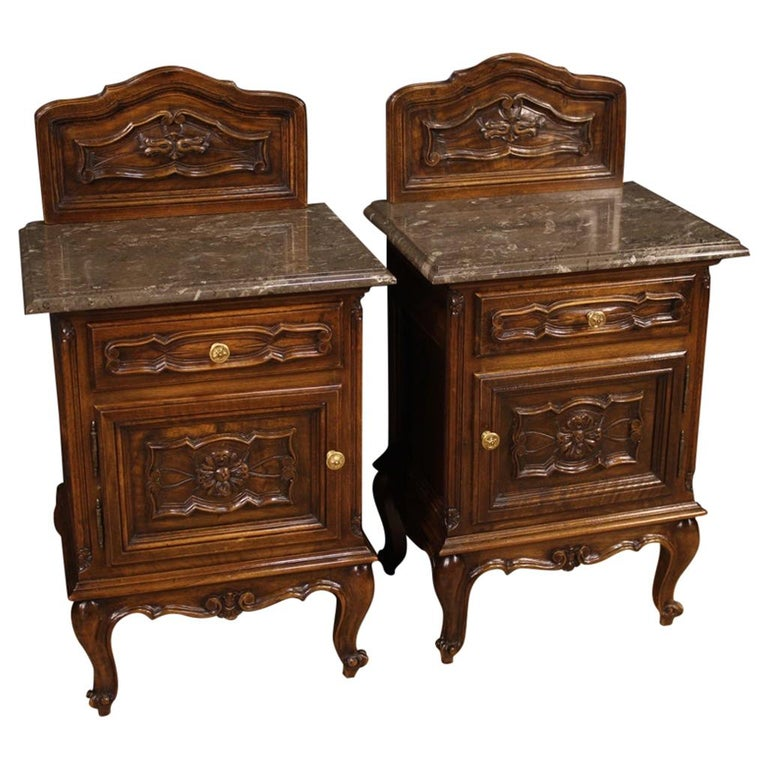 Pair of 20th Century Walnut Wood and Marble-Top Italian Nightstands, 1950