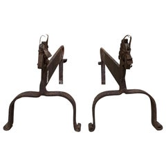 Pair of 20th Century Whimsical Primitive Horse Andirons