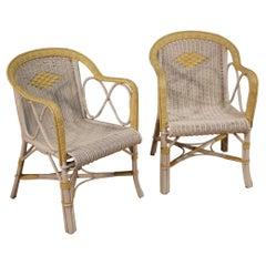 Pair of 20th Century White Wicker Italian Vintage Armchairs, 1980