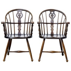 Pair of 20th Century Windsor Armchairs