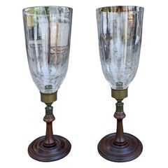 Pair of 20th Century Wood and Brass Candlesticks with Hurricanes