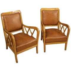 Pair of 20th Century Wood and Faux Leather Italian Design Armchairs, 1960