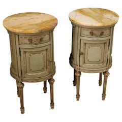 Pair of 20th Century Wood and Marble Louis XVI Style Italian Nightstands, 1950