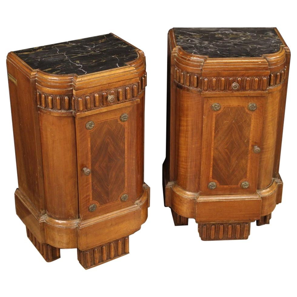 Pair of 20th Century Wood and Marble Top Art Deco Italian Bedside Tables, 1930