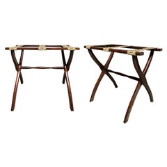 Pair of 20th Century Wood Folding Luggage Racks, Green Floral Fabric