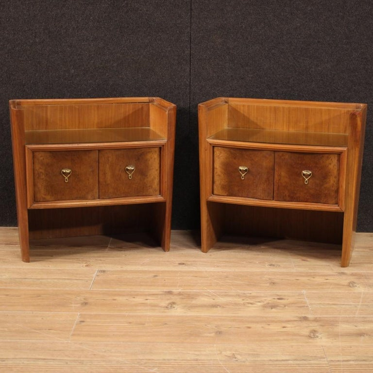 Gilt Pair of 20th Century Wood Italian Design Bedside Tables, 1960 For Sale