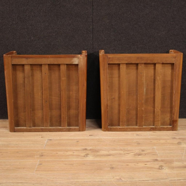 Pair of 20th Century Wood Italian Design Bedside Tables, 1960 In Good Condition For Sale In Vicoforte, Piedmont