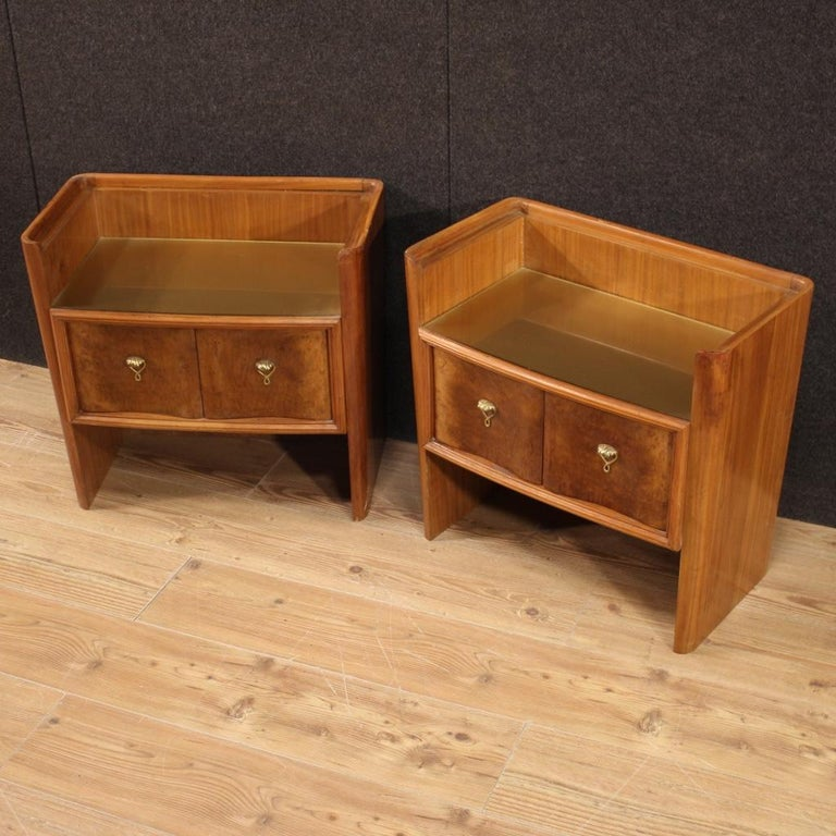 Mid-20th Century Pair of 20th Century Wood Italian Design Bedside Tables, 1960 For Sale