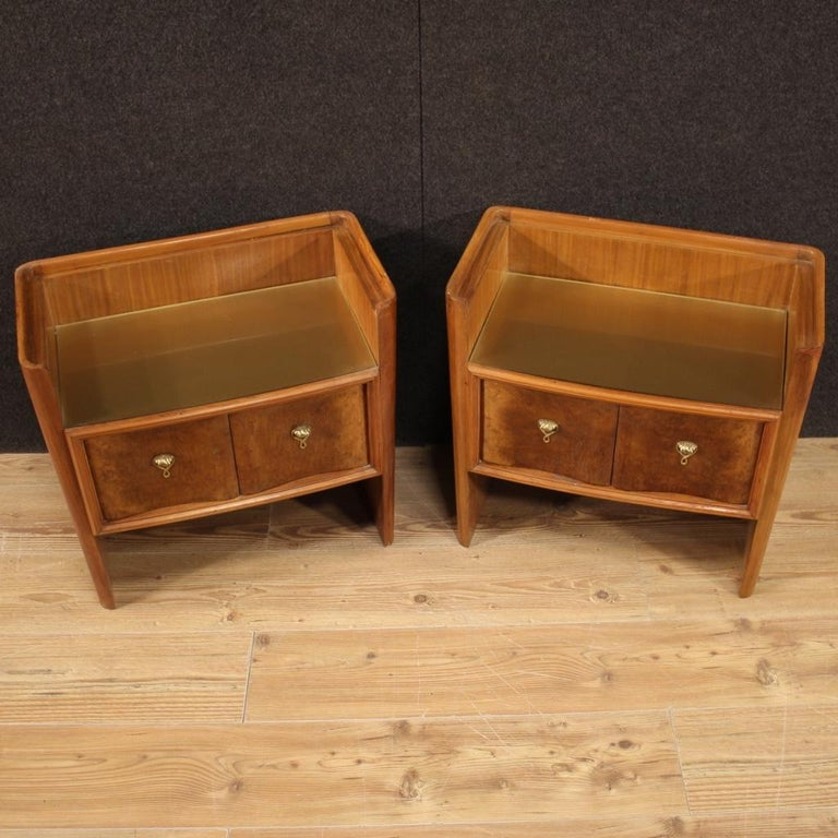 Glass Pair of 20th Century Wood Italian Design Bedside Tables, 1960 For Sale