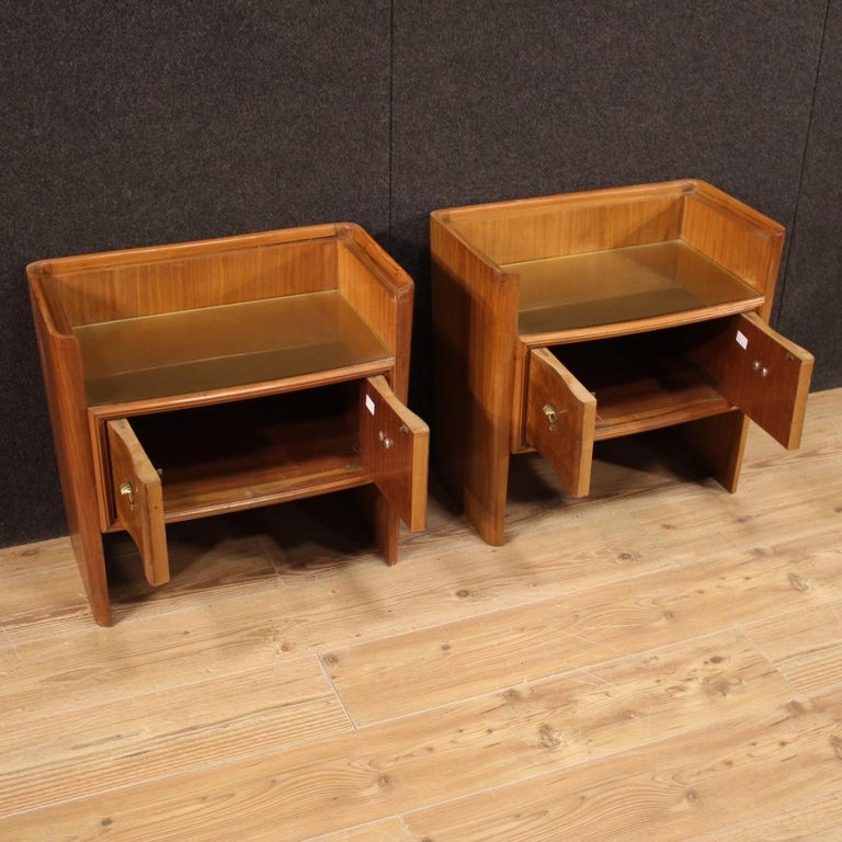 Pair of 20th Century Wood Italian Design Bedside Tables, 1960 For Sale 1