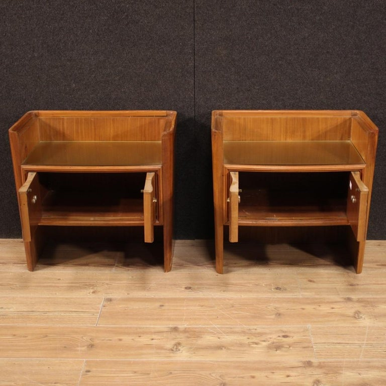 Pair of 20th Century Wood Italian Design Bedside Tables, 1960 For Sale 2