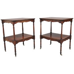 Pair of 20th Century Yew Wood Occasional Tables