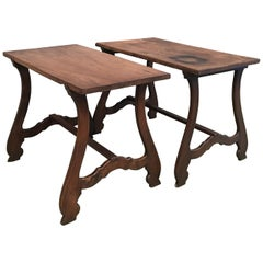 Pair of 20th Spanish Farm Tables or Desk Table, Side Tables