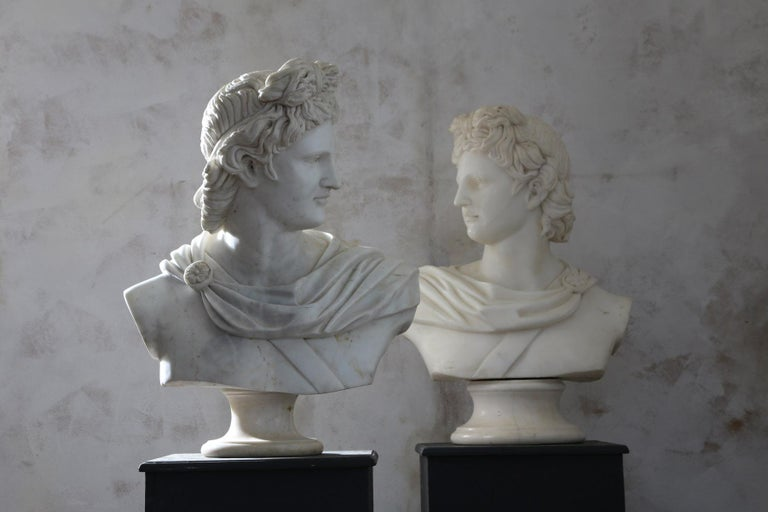 Pair of 20th century belvedere busts.