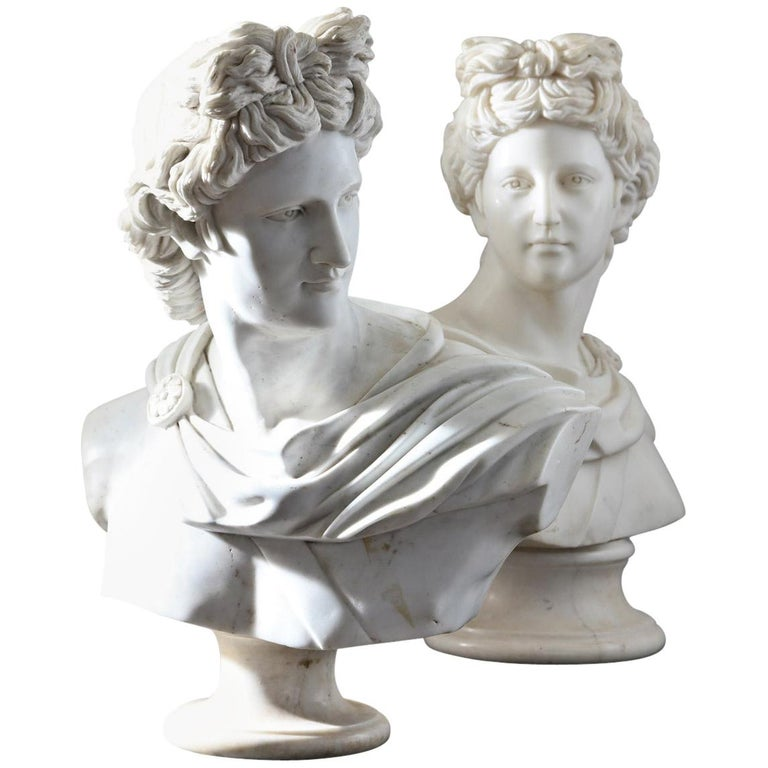 Pair of 20th Century Apollo Belvedere Busts For Sale