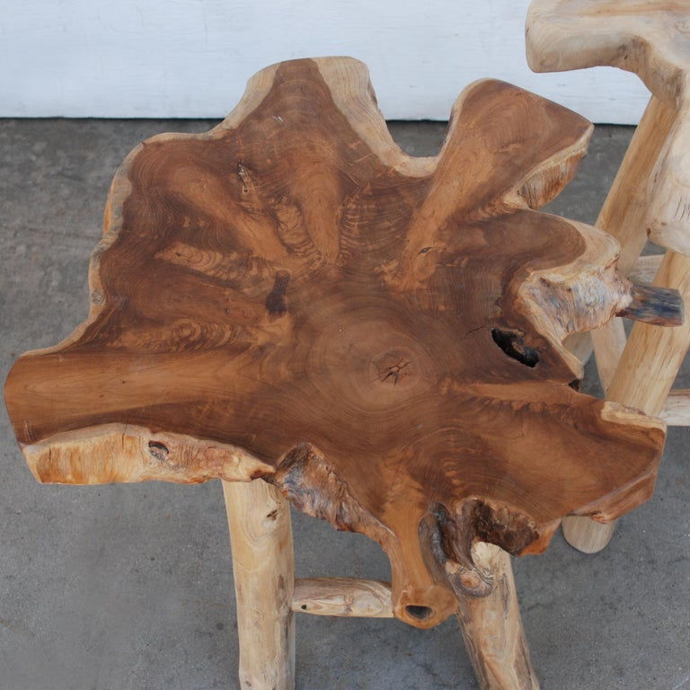 American Pair of Rustic Live Edge Stools For Sale