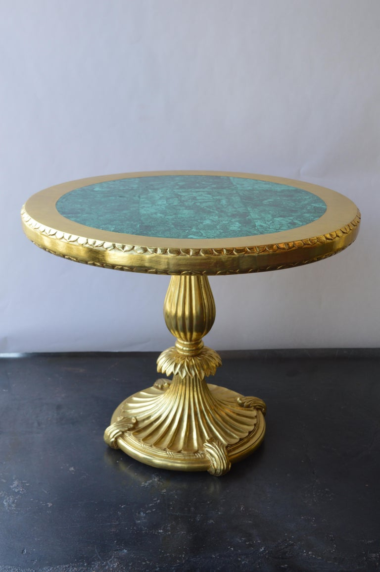 Italian Pair of 22k Gold Tables with Malachite Insert For Sale