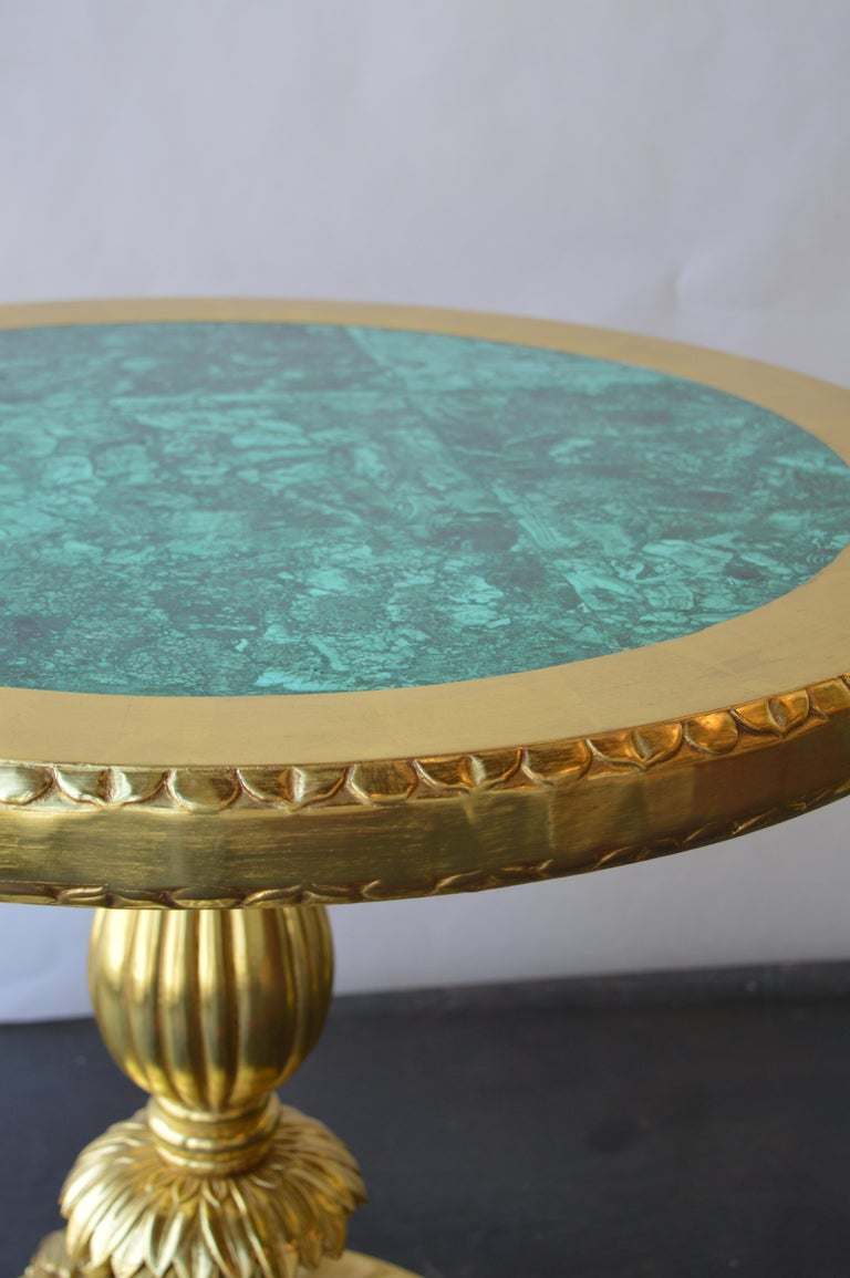 Hand-Carved Pair of 22k Gold Tables with Malachite Insert For Sale