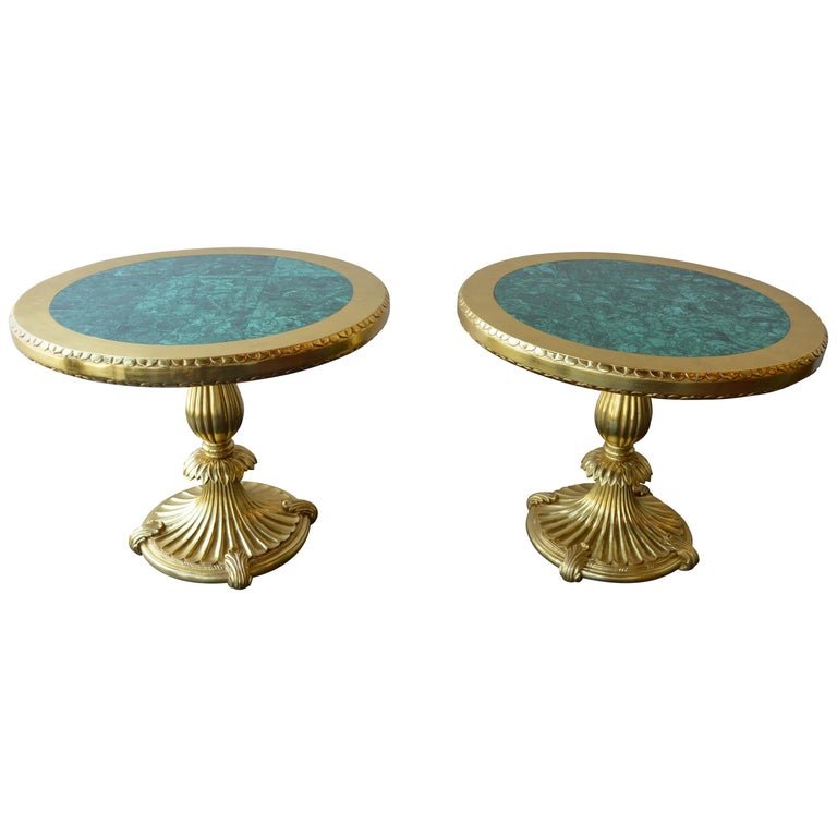 Pair of 22k Gold Tables with Malachite Insert For Sale