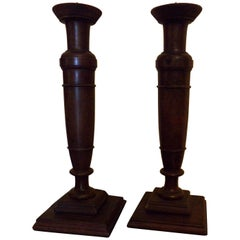 Pair of Candlesticks in Walnut, circa 1890
