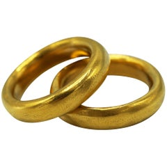 Pair of 24 Carat Gold Handmade Band Rings by Rosaria Varra