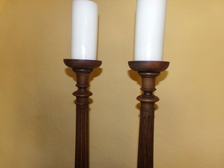 Pair of Louis XVI Style Walnut Candlesticks, circa 1890 In Good Condition For Sale In London, GB