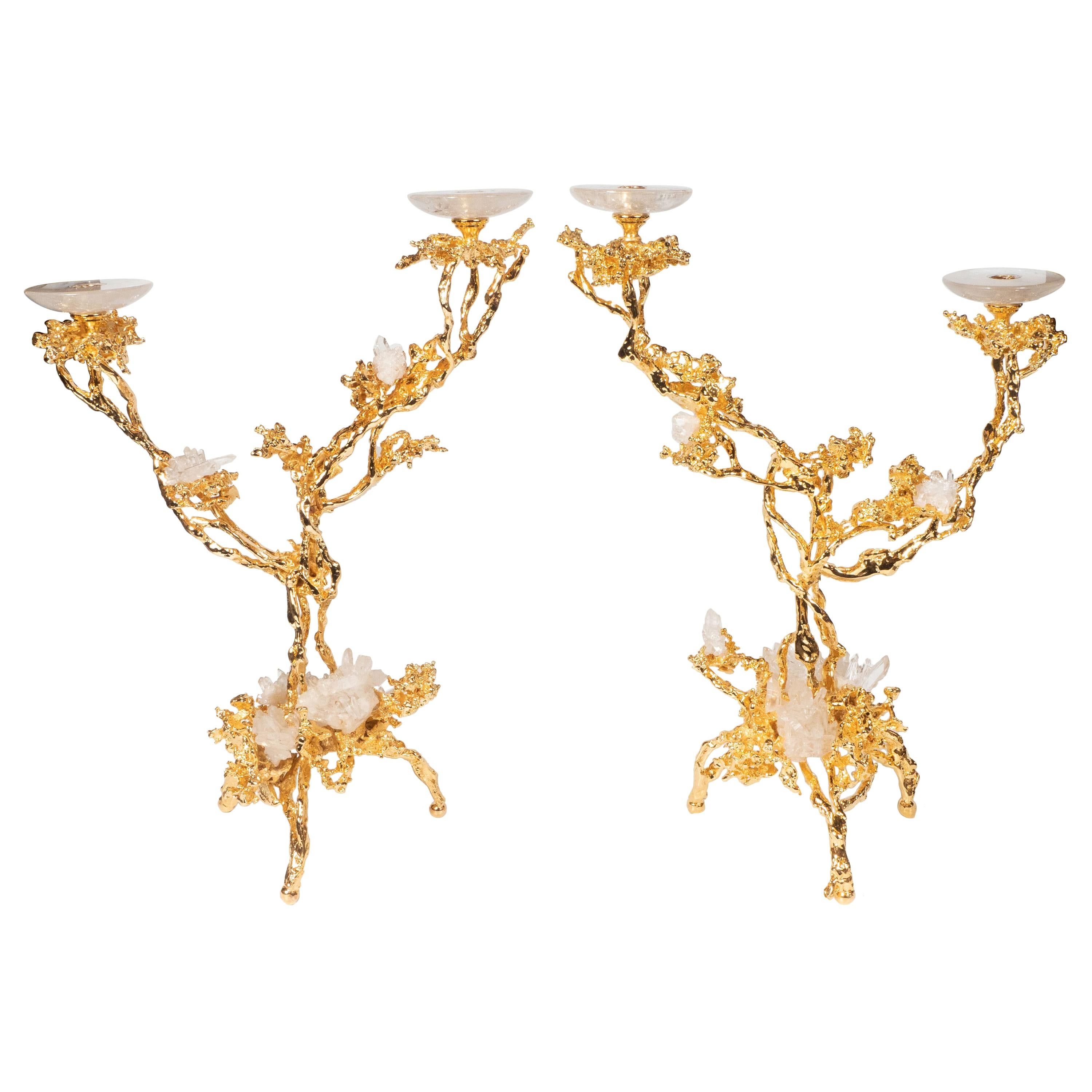 Pair of 24kt Gold Double Branch Candlesticks with Rock Crystals, Claude Boeltz
