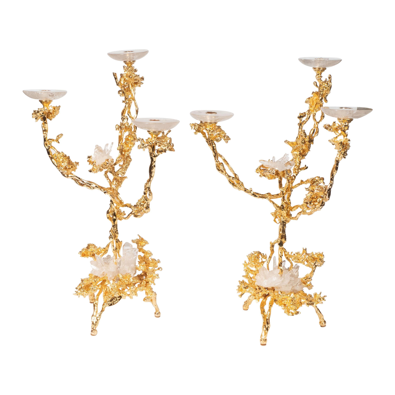 Pair of 24Kt Gold Triple Branch Candlesticks w/ Rock Crystals by Claude Boeltz