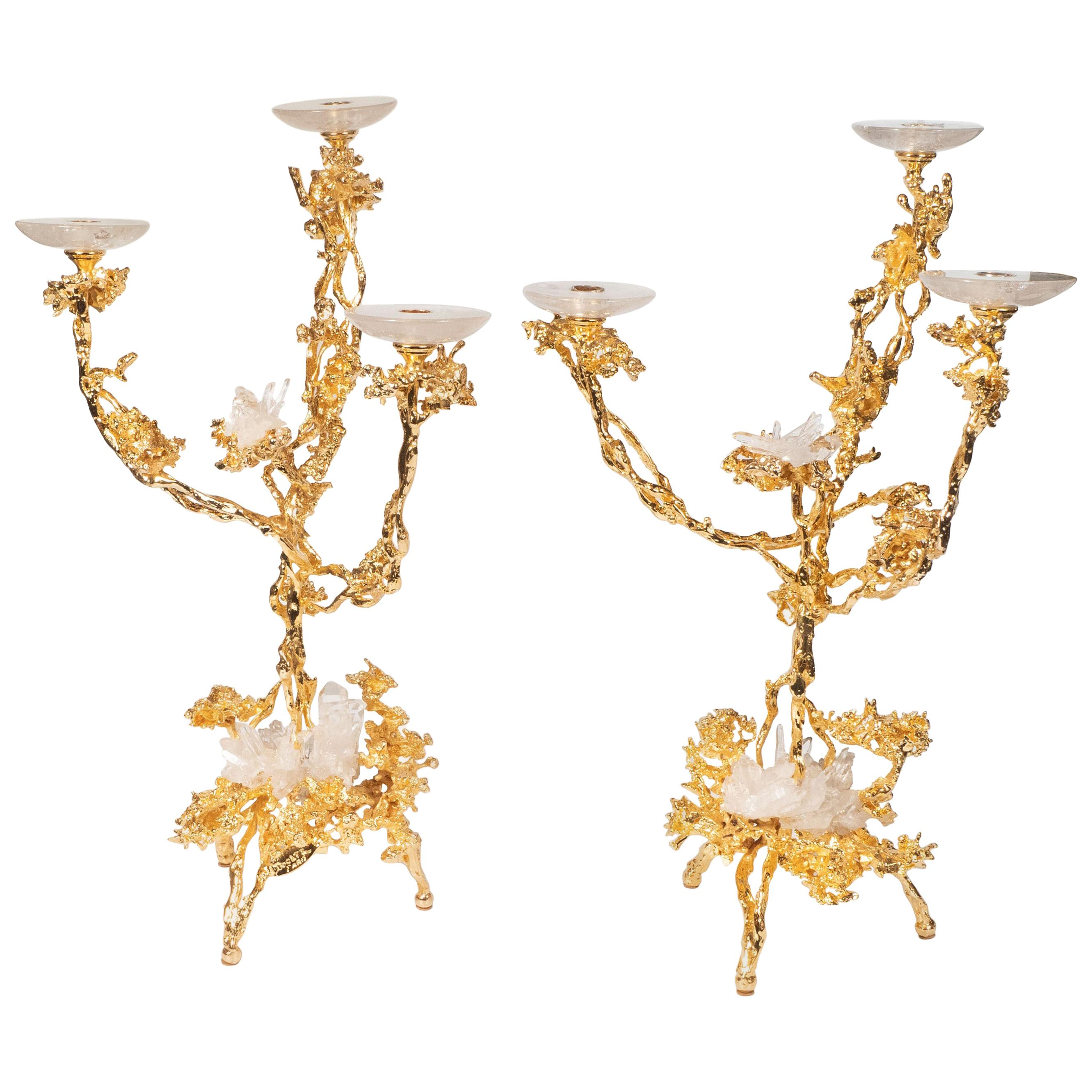 24-Karat Gold Triple Branch Candlesticks with Rock Crystals, Claude Boeltz, Pair