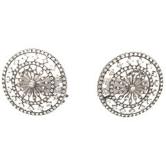 Pair of 2.87 Carat Diamond Circle Oxidite White Gold Earrings