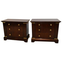 Pair of 3-Drawer Java Tone Bachelor Chests by Henredon