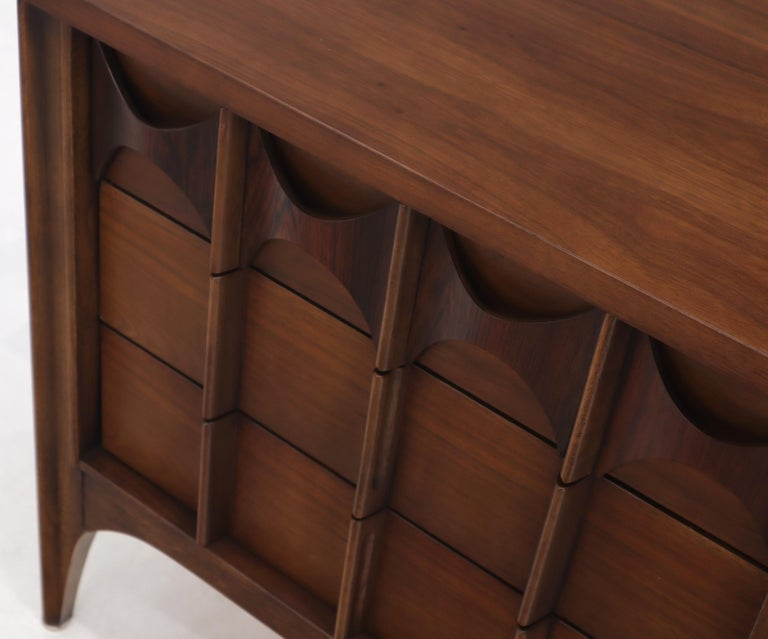 Pair of 3 Drawers Rosewood and Walnut End Side Table For Sale 4