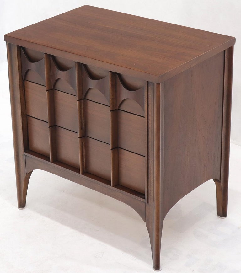 20th Century Pair of 3 Drawers Rosewood and Walnut End Side Table For Sale