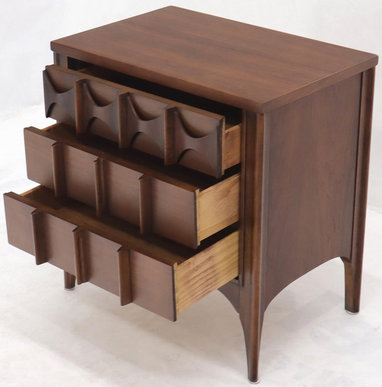 Pair of 3 Drawers Rosewood and Walnut End Side Table For Sale 1