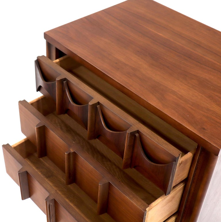 Pair of 3 Drawers Rosewood and Walnut End Side Table For Sale 2