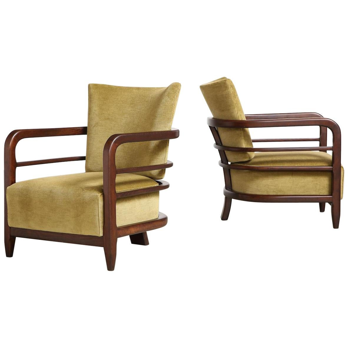 Pair of 3-Leg Lounge Chairs