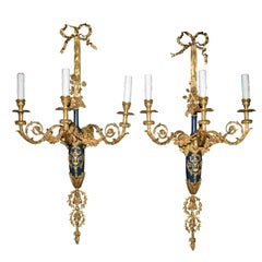 Pair of 3 Lights Louis XVI Style Wall Sconces
