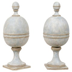 Pair of Artisan-Crafted Solid Wood Finials in Blue and Gray Color