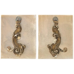 Pair of 3D Wall Sculptures with an 18th Century Italian Fragments and Ammonites