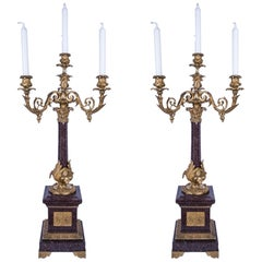 Pair of 4-Candle Foliate Bronze and Porphyry Marble Candelabra