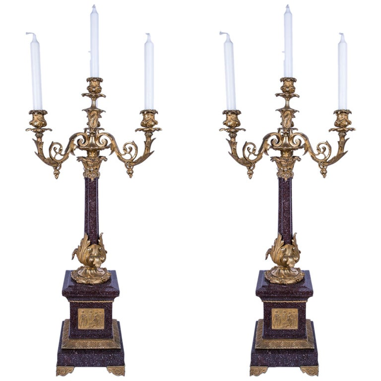 Pair of 4-Candle Foliate Bronze and Porphyry Marble Candelabra For Sale