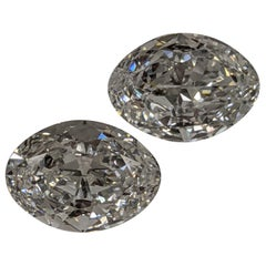 Pair of 4 Carat Each D Color Internally Flawless 'GIA' Ovals for Custom Earrings